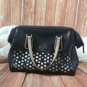 New GUESS Blanco Nero Laser-Cut Frame Satchel Bag